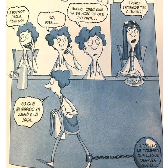 Caricatura en la que la protagonista se va de una reunión con amigas porque el marido llegó a la casa. (Crédito: Eva Lobatón)