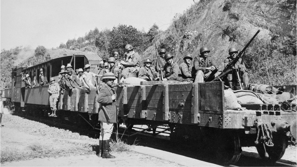 French troops during an uprising in Madagascar