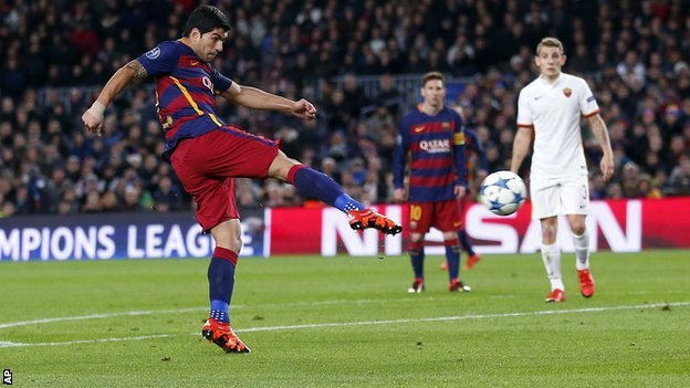 Luis Suarez scores with a volley