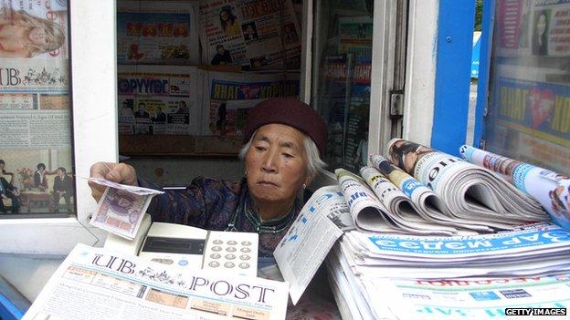 Newspaper vendor in Mongolia