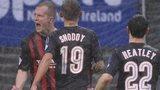 Jordan Owens celebrates scoring against Ballymena
