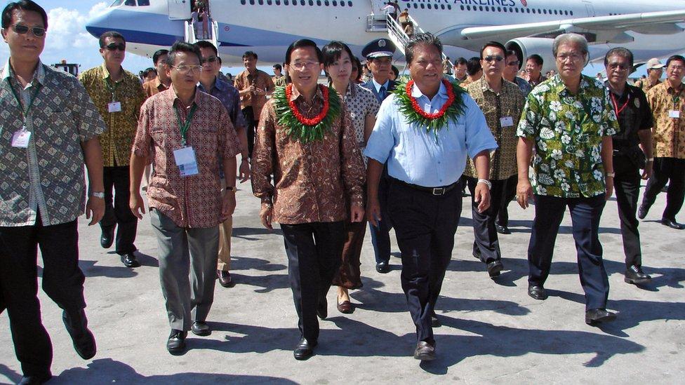 台灣前總統陳水扁2007年出訪馬紹爾。