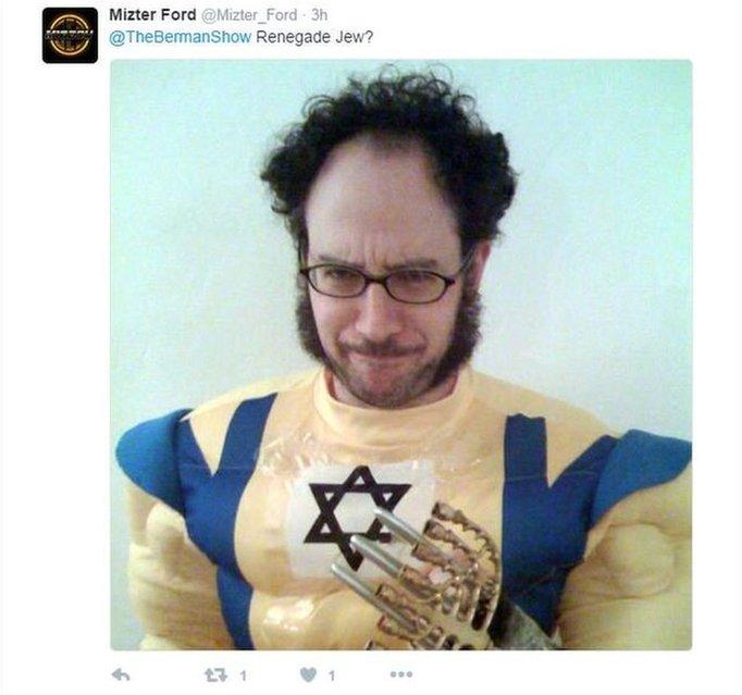Tweet using Jewish superhero meme
