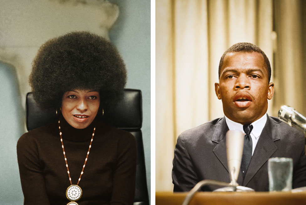 A split image of colourised photos of Angela Davis and John Lewis