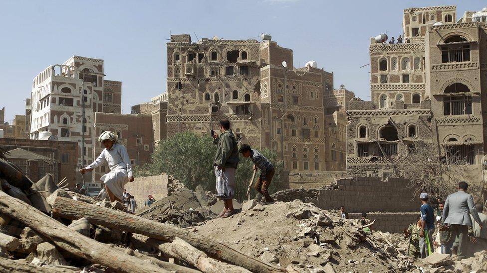 Aftermath of an airstrike in the Yemeni capital Sanaa