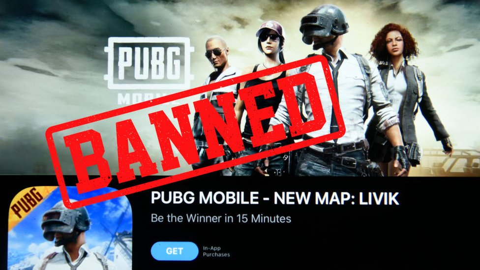 Photo Illustration of PUBG app with Banned text on an ipad device in Guwahati, india, on September 2, 2020.
