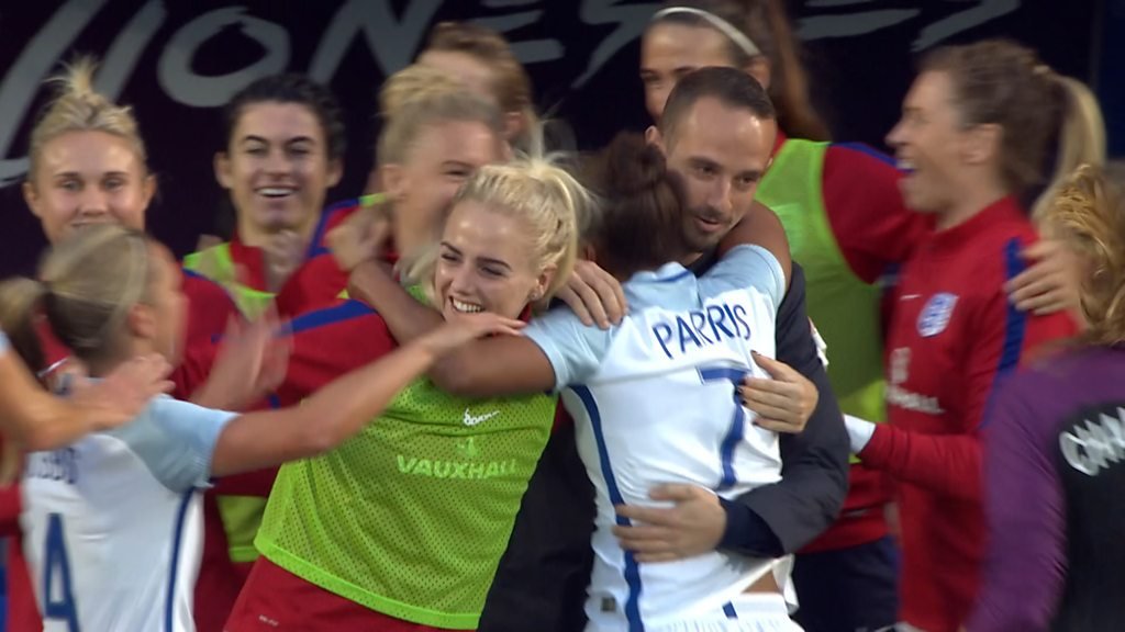 Nikita Parris scores for England against Russia and celebrates with Mark Sampson