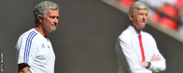Chelsea manager Jose Mourinho and Arsenal counterpart Arsene Wenger