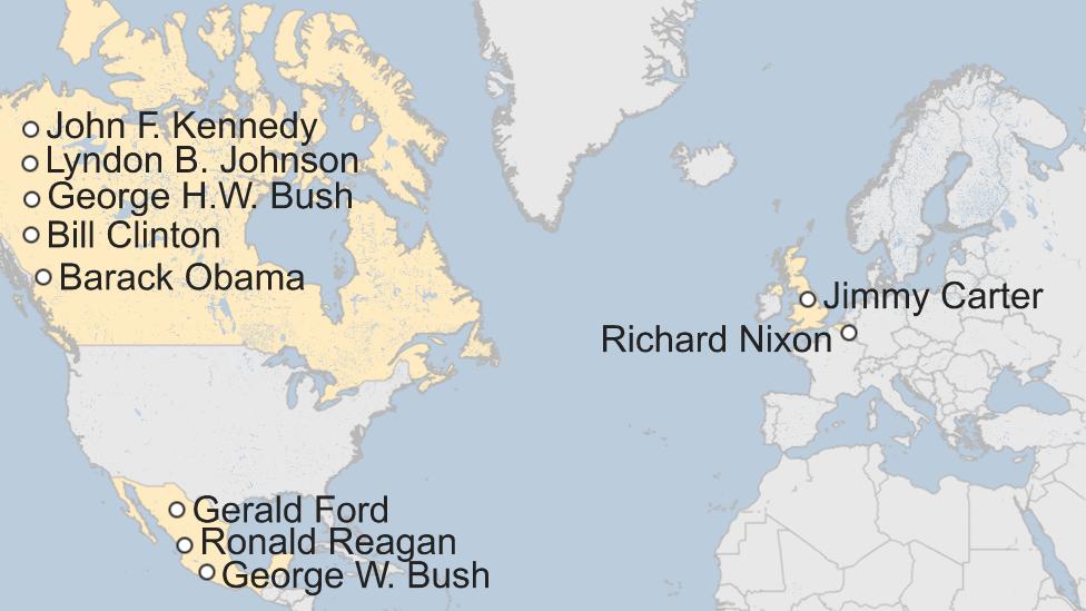 Mapa de los primeros destinos internacionales de los presidentes de Estados Unidos desde Kennedy.