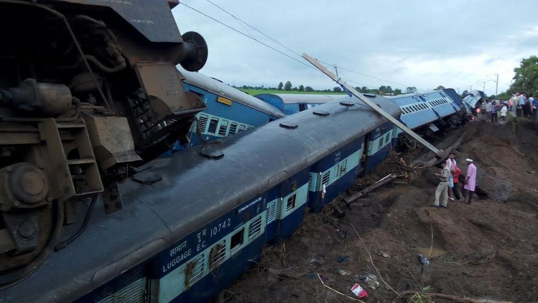 Two passenger trains in the Indian state of Madhya Pradesh derail within minutes of each other, killing at least 20 people, officials say.