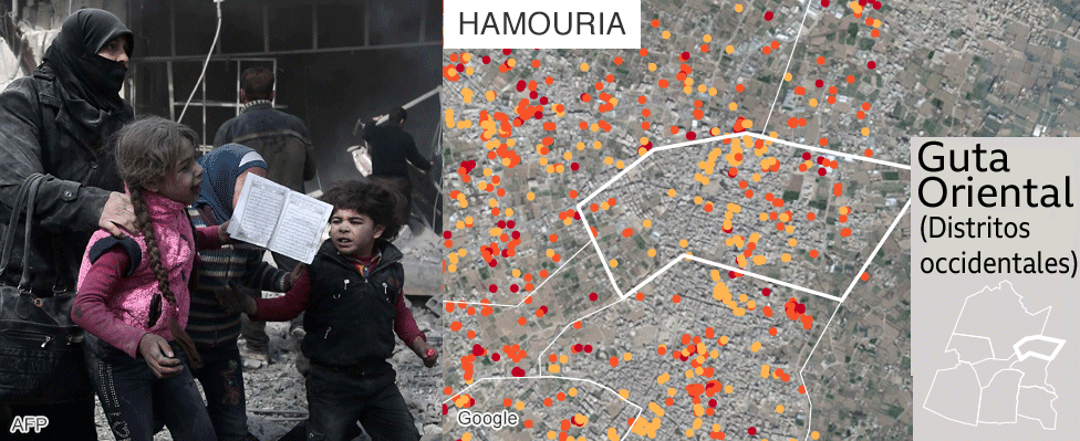 Mapa que muestra los daños en Hamouria, Guta Oriental