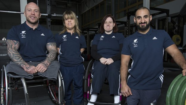 The GB powerlifting team of Micky Yule, Zoe Newson, Natalie Blake and Ali Jawad