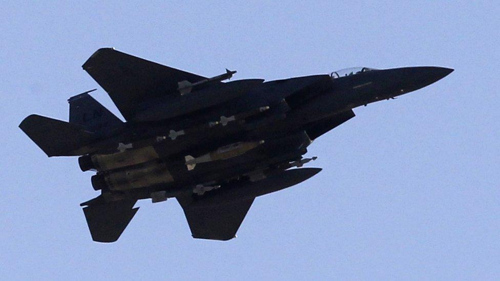 Avión F-15 de la fuerza aérea estadounidense.