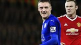 Jamie Vardy of Leicester and Wayne Rooney of Manchester United