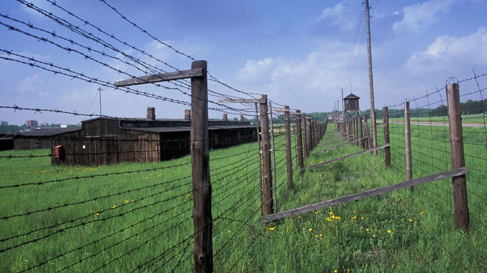 Barbed wire in a field protects a former concentration camp