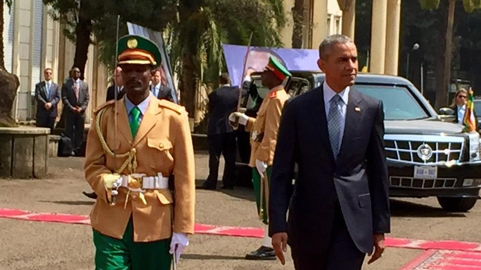 "US President Barack Obama praises Ethiopia as an ""outstanding partner"" in the fight against militant Islamists and calls for rights improvements."