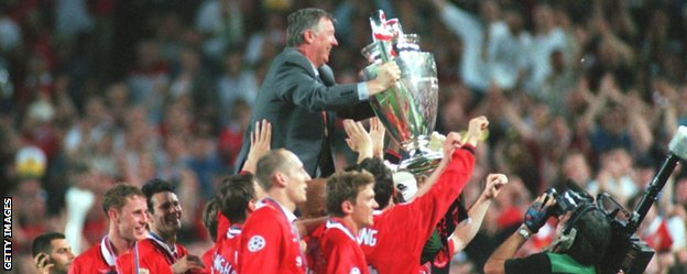 Alex Ferguson is lifted above the shoulders of his European Cup-winning Manchester United players