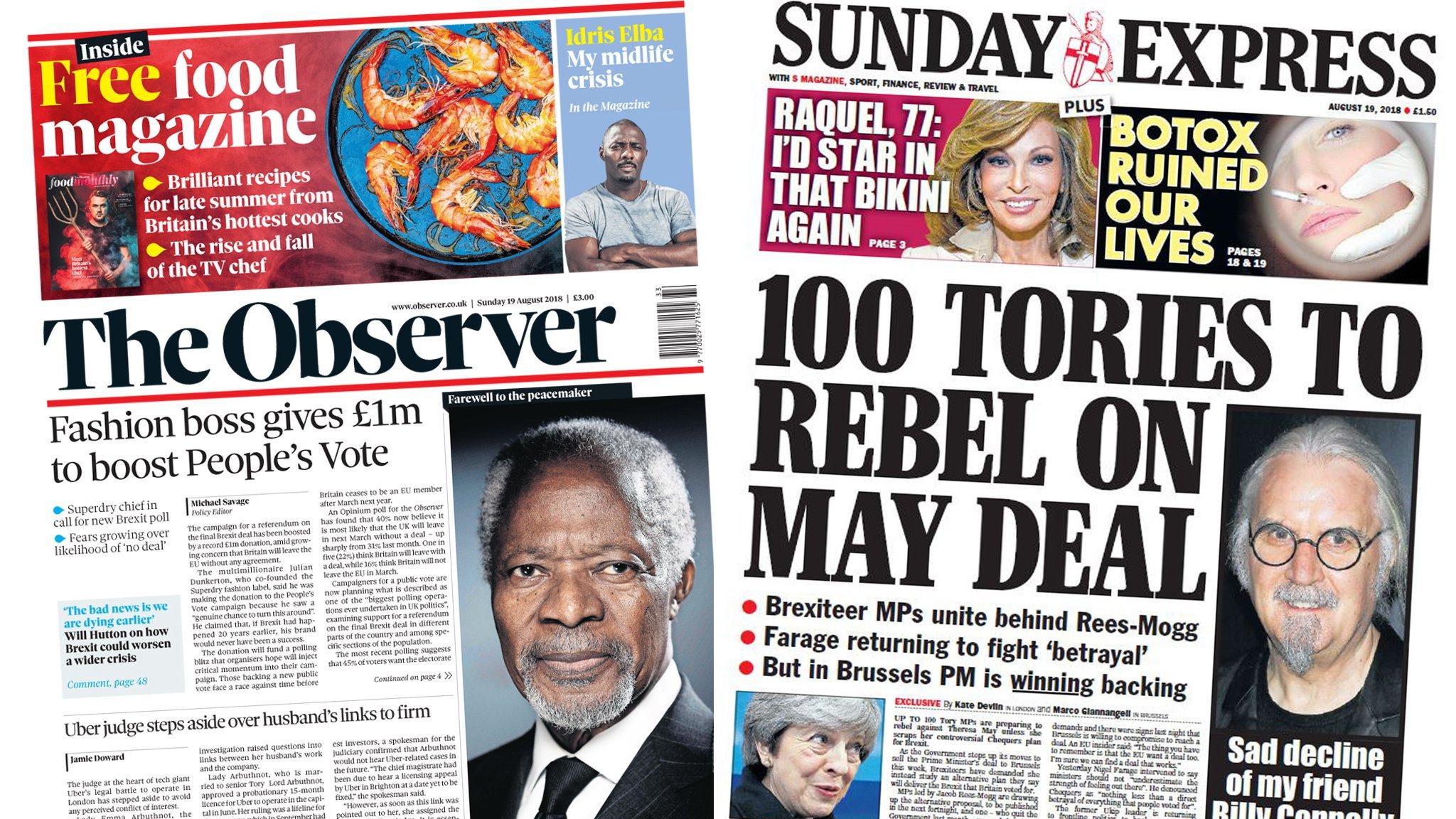 Newspaper headlines: People's Vote 'boost' and '100' Tory rebels