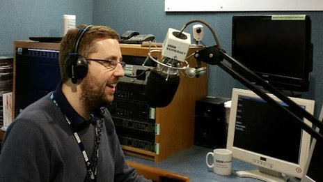 Ben in the studio at BBC Somerset