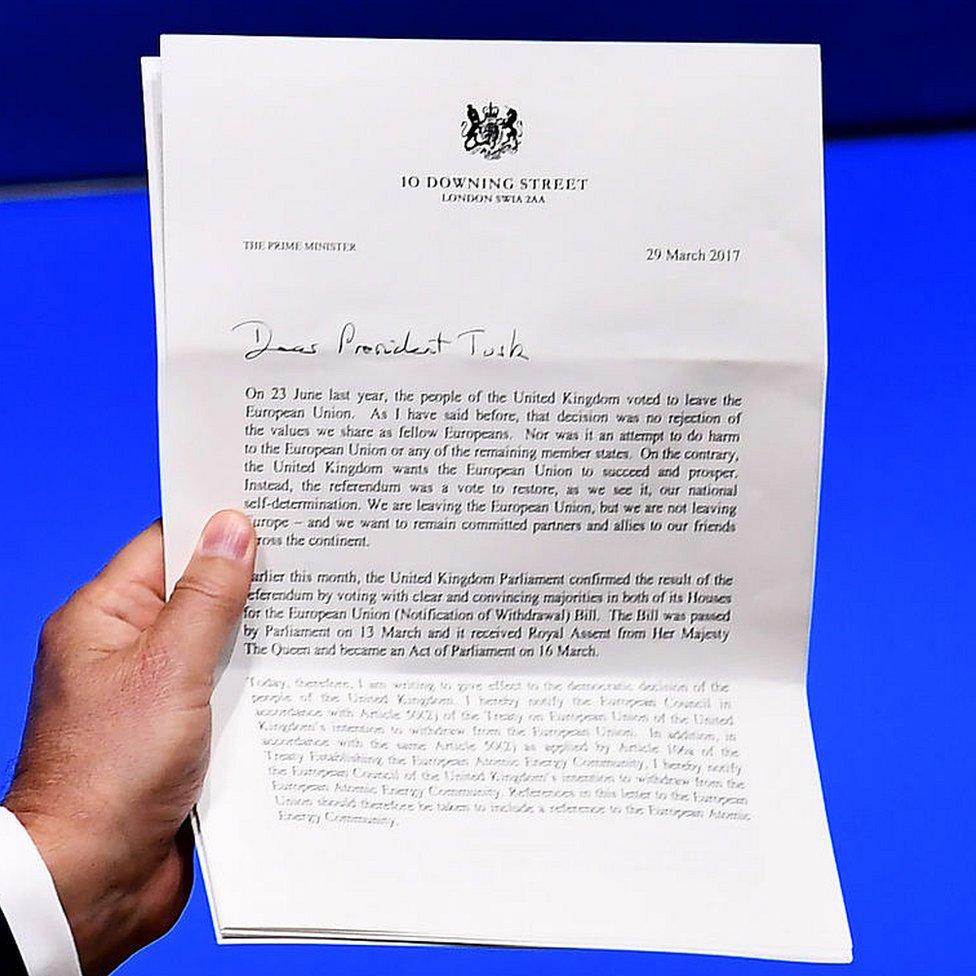 Carta con la que la primera ministra británica Theresa May notificó este miércoles al Consejo Europeo su voluntad de que Reino Unido salga de la Unión Europea.