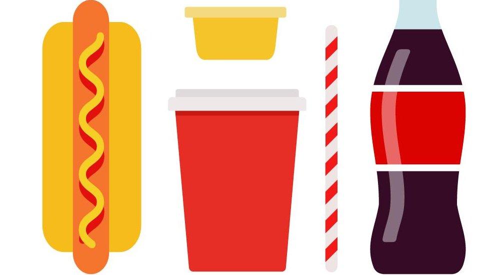 Gráfico con bebida gaseosa y hamburguesa