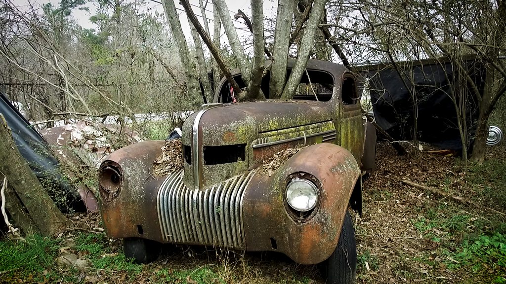 The surreal junkyard of decaying vintage cars
