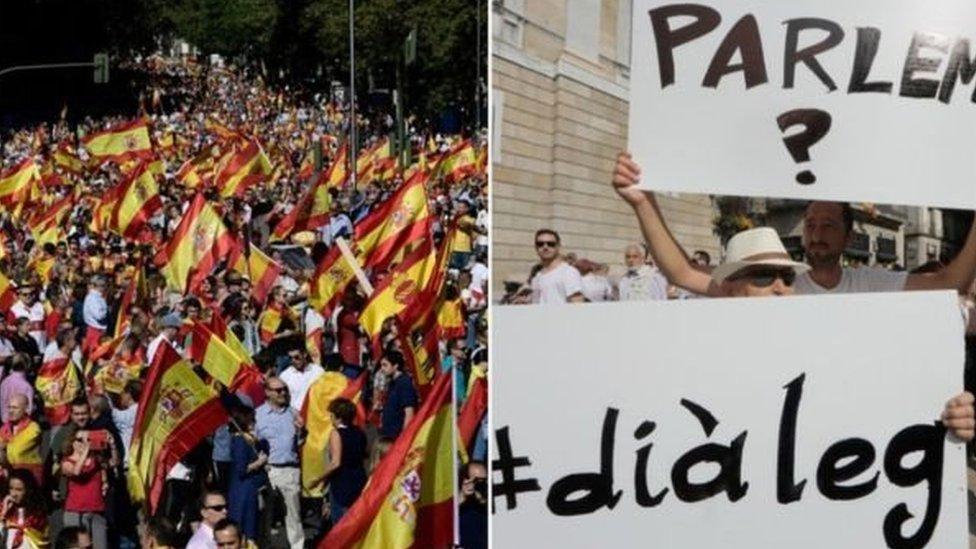 طالبت مظاهرات مدريد بالمحافظة على وحدة اراضي إسبانيا (يسار) في حين دعت مظاهرات برشلونة إلى الحوار السياسي