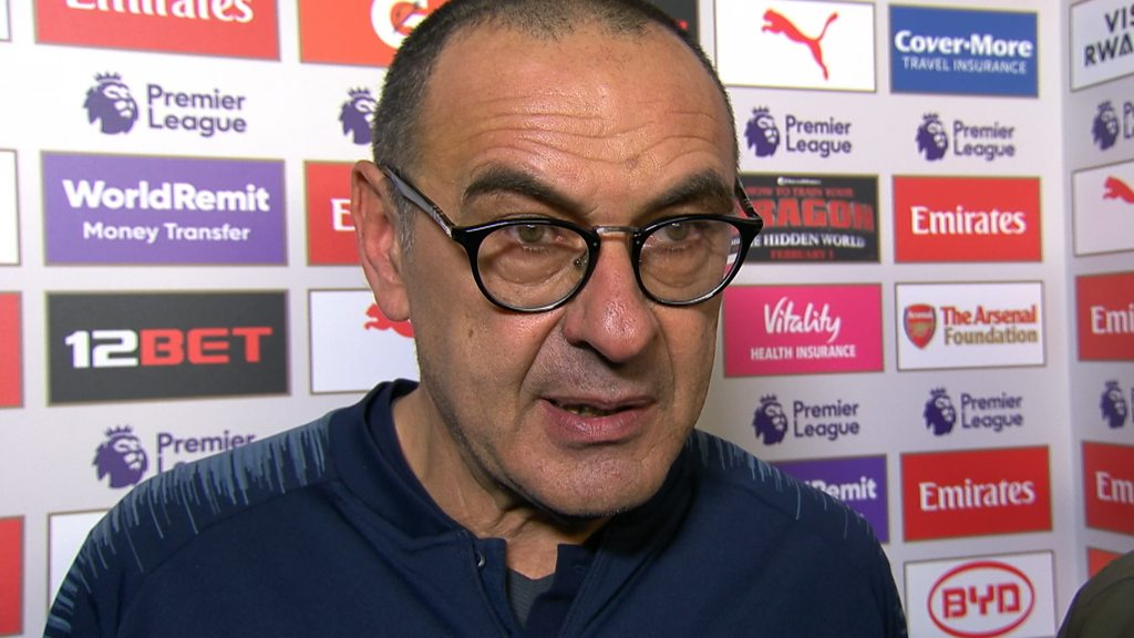 Arsenal 2-0 Chelsea: Sarri questions players' 'determination'
