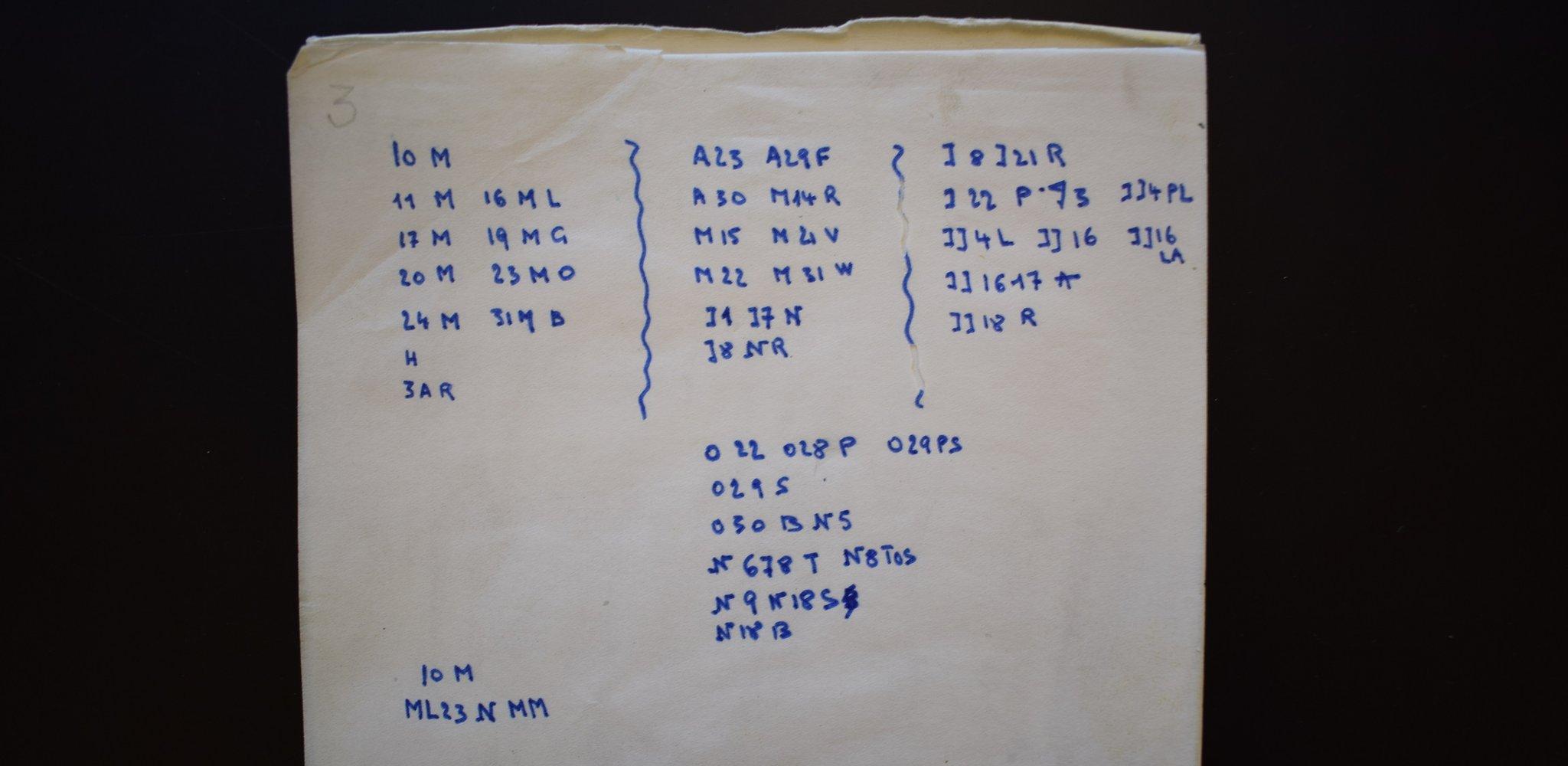 Foto del cuaderno de la mujer donde había un mensaje en código.
