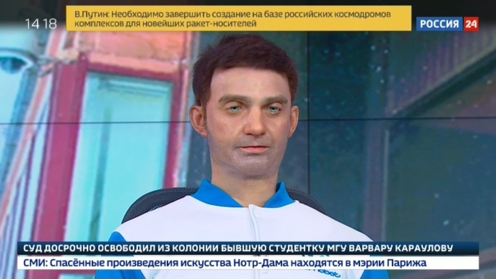 Robot news presenter causes a stir on Russian TV