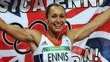 Jessica Ennis-Hill celebrates after winning gold in the heptathlon at London 2012
