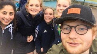 Ed Sheeran drops in on Essex hockey club