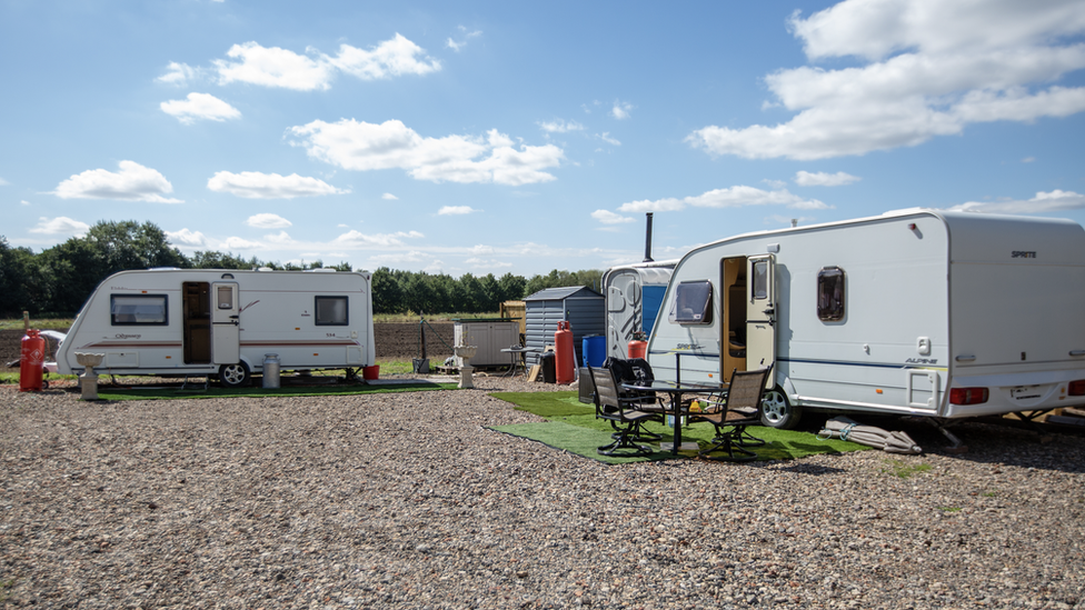 Two caravans on the land in Newark