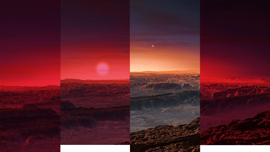 Artist's impression of a view of the surface of the planet Proxima b