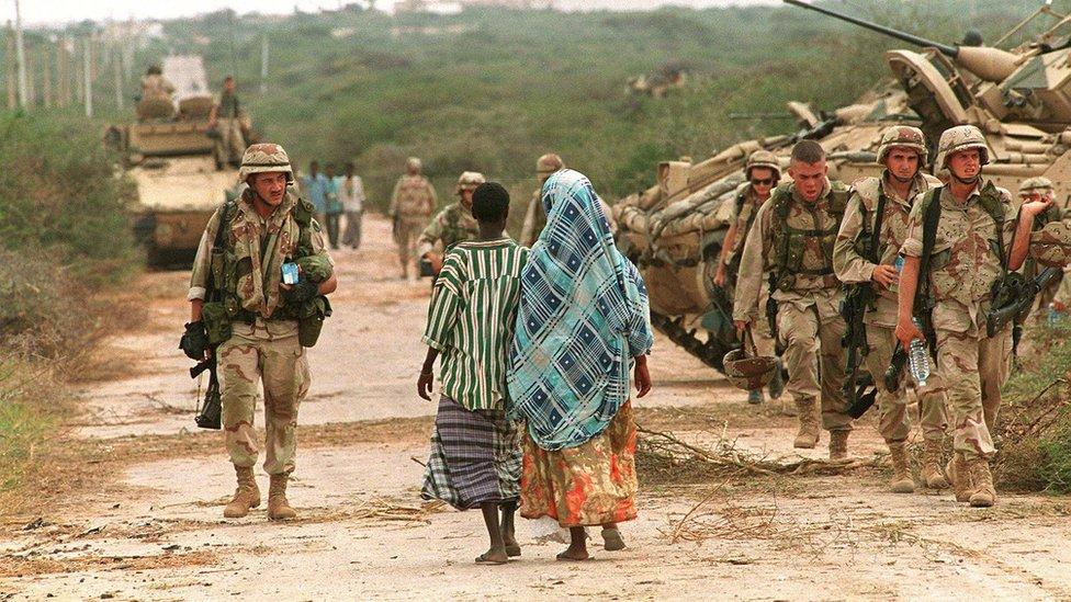 Soldados de Estados Unidos en Somalia en 1993.