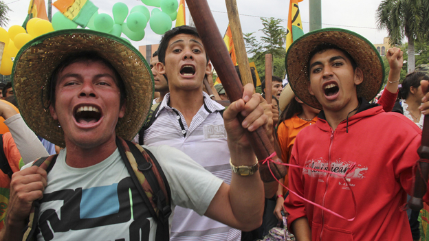 Striking workers in Paraguay
