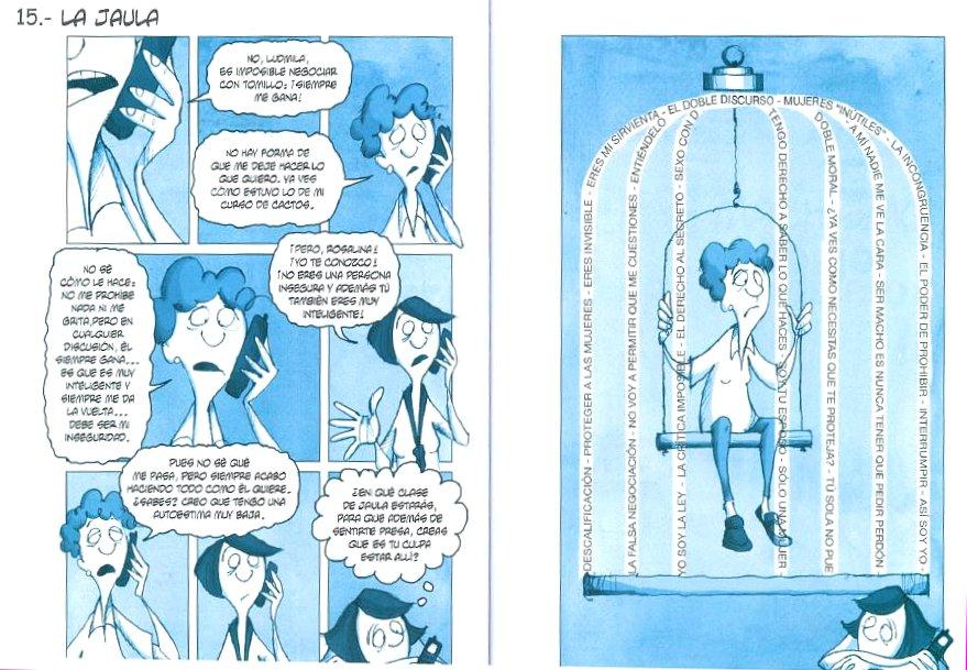 """Ilustración de """"La jaula"""", el lugar donde muchas mujeres se encuentran por los conceptos machistas actuales. (Crédito: Eva Lobatón)"""