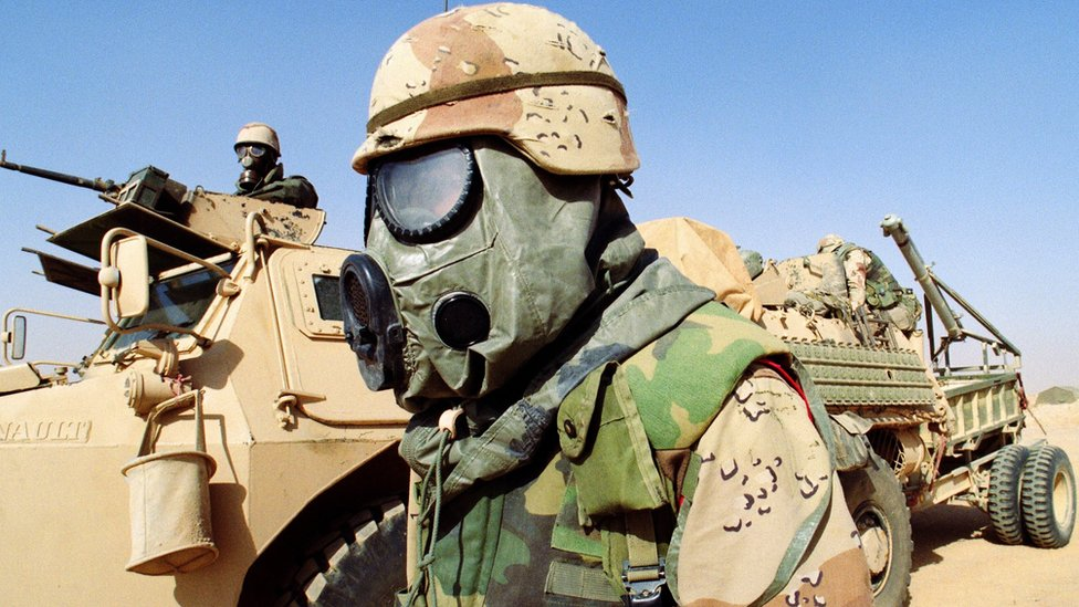 Allied soldier wearing chemical warfare equipment