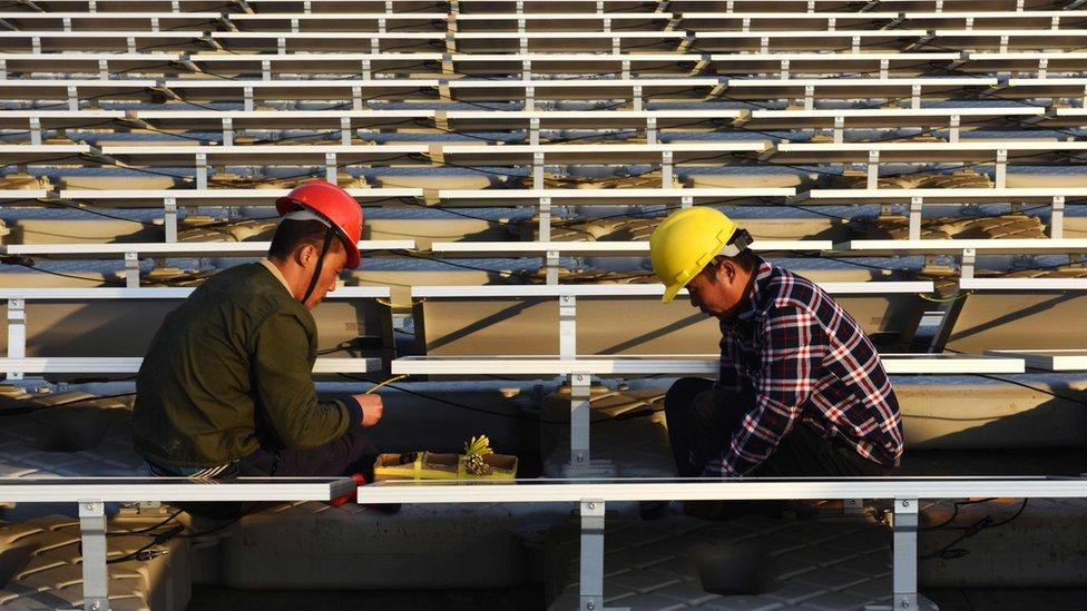 Planta de energía solar en China.
