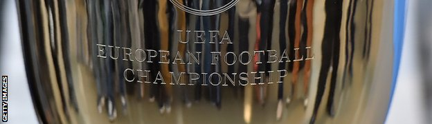 The trophy of the UEFA Euro 2016 football tournament displayed at the headquarters of the Bordeaux Metropole conurbation authority in Bordeaux