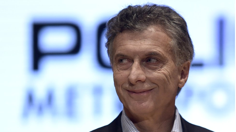 Buenos Aires mayor and presidential candidate Mauricio Macri attends the seventh anniversary of the Buenos Aires police force on 28 October 2015.