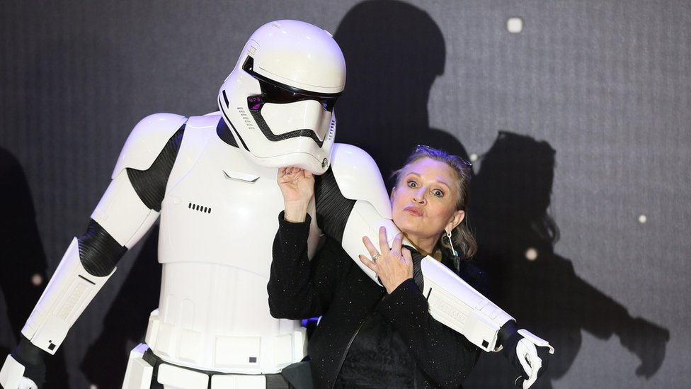 Soldado de Star Wars y Carrie Fisher