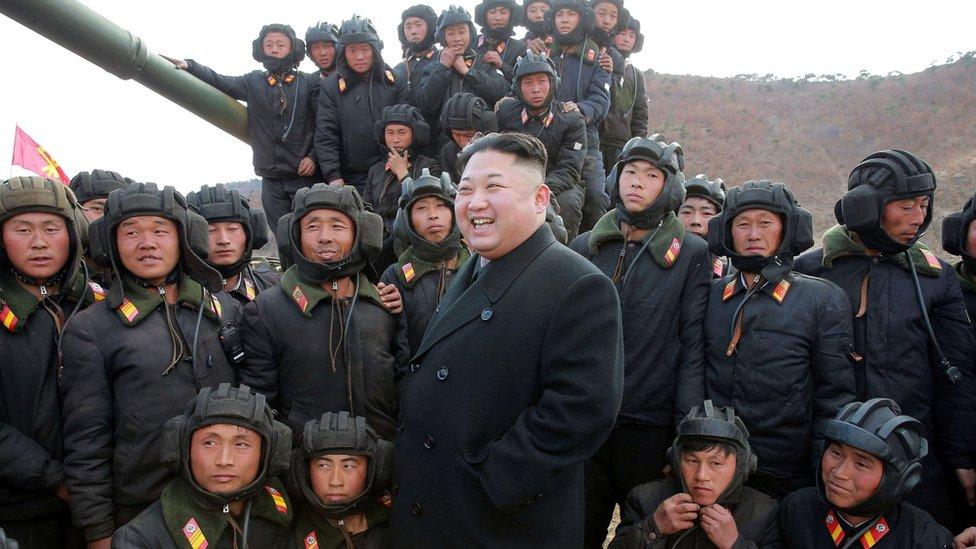 الرئيس الكوري الشمالي وسط قواته