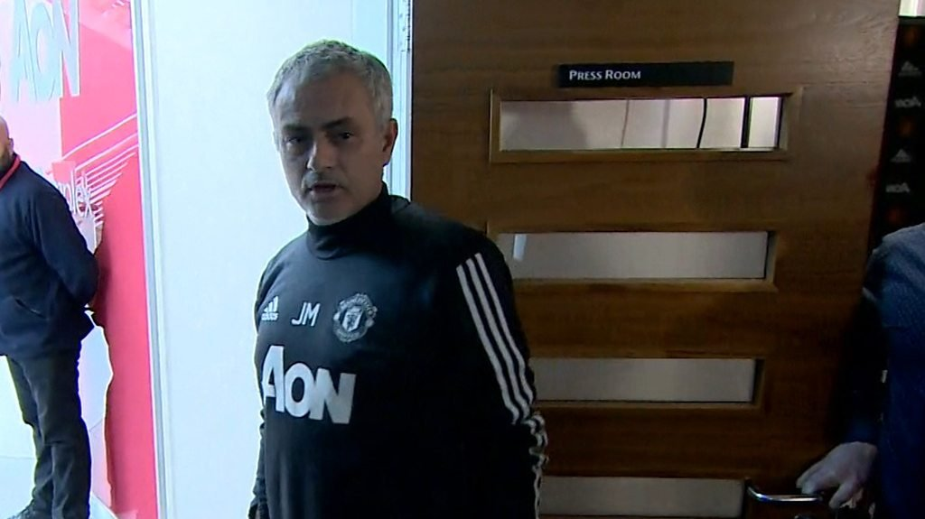Watch as Mourinho criticises media as he leaves news conference