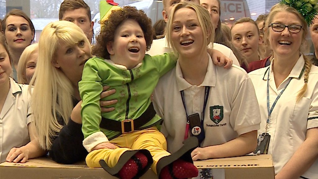 Boy born with 2% of brain gives gifts to Newcastle hospital