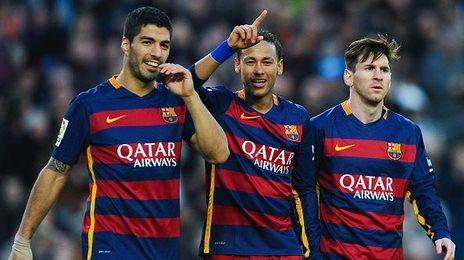 Barcelona goalscoring trio Luis Suarez (left), Neymar and Lionel Messi (right)