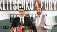 Wladimir Klitschko and Tyson Fury before the postponed initial fight in July 2015