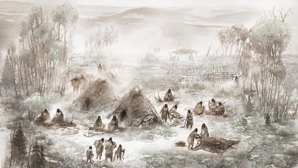 Una ilustración que muestra como habrían vivido los
