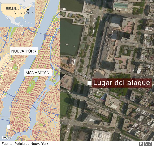 Mapa donde ocurrió el ataque de Nueva York.