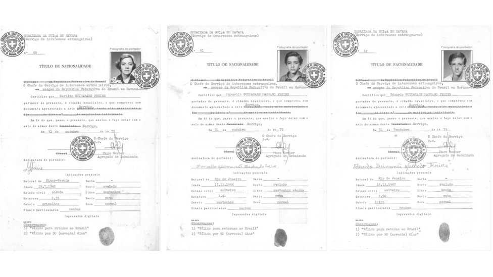 Certificados de nacionalidad de Marília y sus hijos